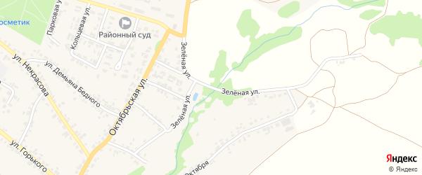 Зеленая улица на карте поселка Суземки с номерами домов