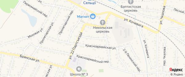Комсомольский переулок на карте Сельца с номерами домов