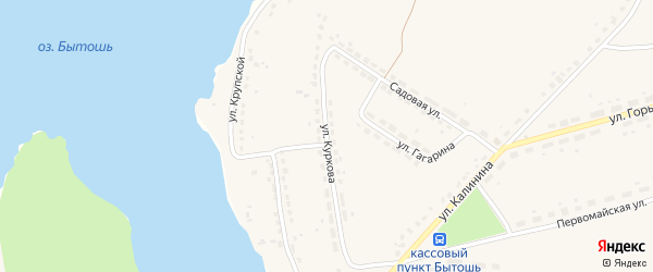 Улица Куркова на карте поселка Бытоши с номерами домов