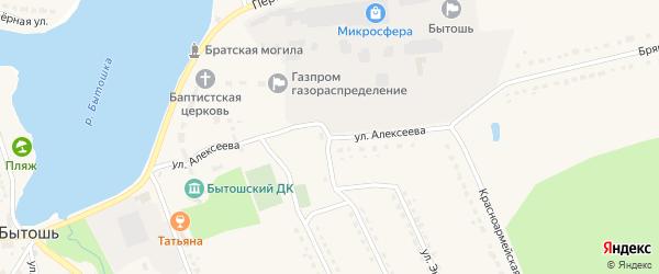 Улица Алексеева на карте поселка Бытоши с номерами домов