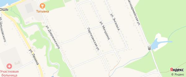 Партизанская улица на карте поселка Бытоши с номерами домов