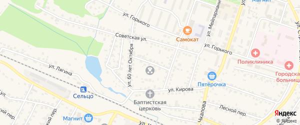 Советский переулок на карте Сельца с номерами домов