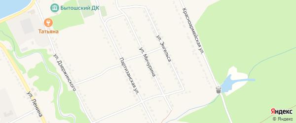Улица Мичурина на карте поселка Бытоши с номерами домов