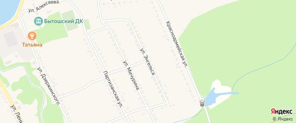 Улица Энгельса на карте поселка Бытоши с номерами домов