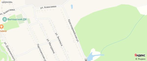 Красноармейская улица на карте поселка Бытоши с номерами домов