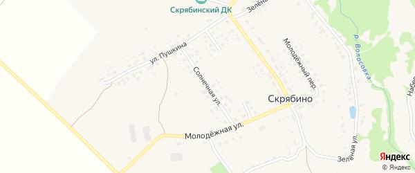 Солнечная улица на карте деревни Скрябино с номерами домов