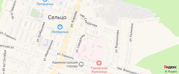 Улица Свердлова на карте Сельца с номерами домов