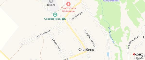 Молодежная улица на карте деревни Скрябино с номерами домов