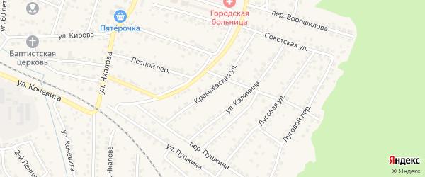 Кремлевская улица на карте Сельца с номерами домов