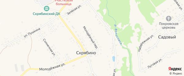 Молодежный переулок на карте деревни Скрябино с номерами домов