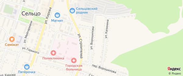 Улица Ворошилова на карте Сельца с номерами домов