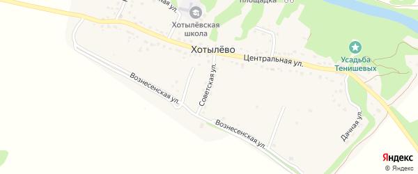 Советская улица на карте села Хотылево с номерами домов