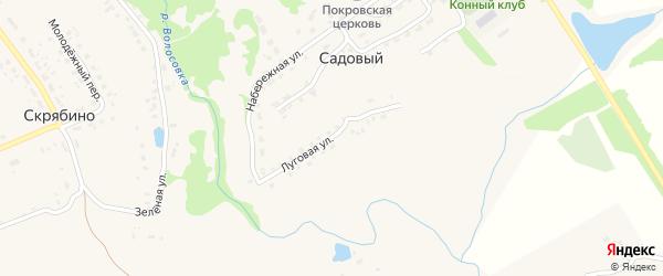 Луговая улица на карте Садового поселка с номерами домов