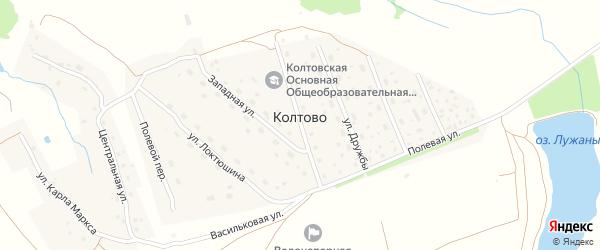 Луговой переулок на карте деревни Колтово с номерами домов
