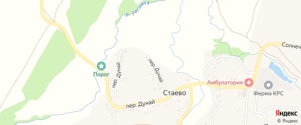 Переулок Дунай на карте деревни Стаево с номерами домов