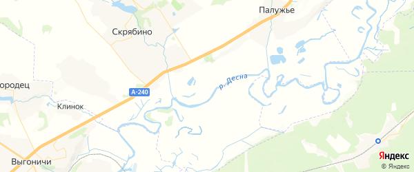 Карта территории Скрябинского сельского поселения Брянской области с районами, улицами и номерами домов
