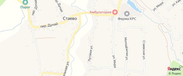 Луговая улица на карте деревни Стаево с номерами домов