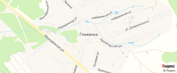Цветочная улица на карте деревни Глаженки с номерами домов