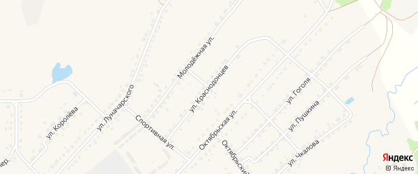 Улица Краснодонцев на карте поселка Стари с номерами домов
