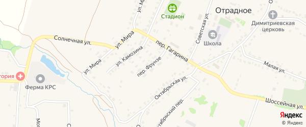 Переулок Фрунзе на карте Отрадного села с номерами домов