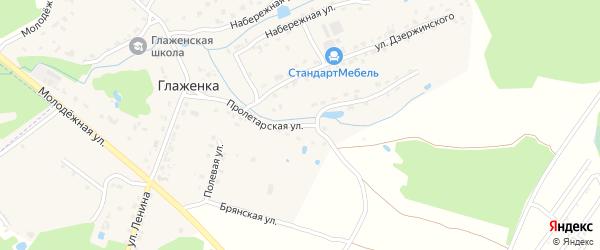 Пролетарская улица на карте деревни Глаженки с номерами домов