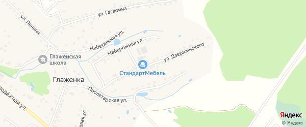 Улица Дзержинского на карте деревни Глаженки с номерами домов