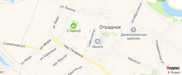 Советская улица на карте Отрадного села с номерами домов