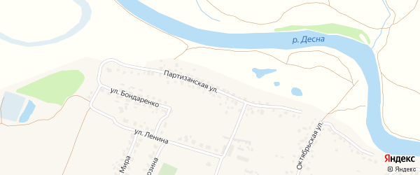 Партизанская улица на карте Отрадного села с номерами домов