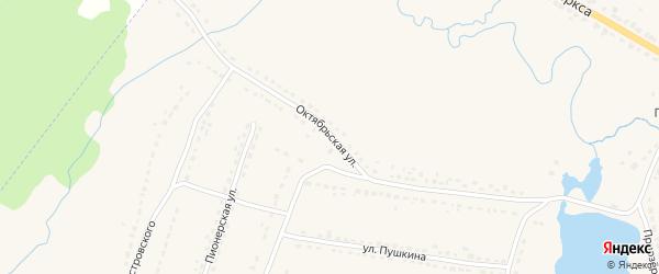 Октябрьская улица на карте поселка Ивота с номерами домов