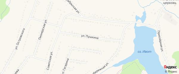 Улица Пушкина на карте поселка Ивота с номерами домов