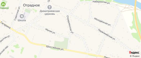 Отрадненская улица на карте Отрадного села с номерами домов
