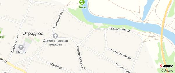 Переулок Щорса на карте Отрадного села с номерами домов