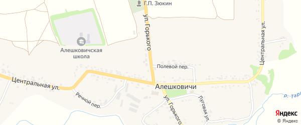 Улица Горького на карте села Алешковичей с номерами домов