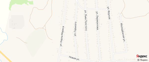 Улица Горького на карте поселка Ивота с номерами домов
