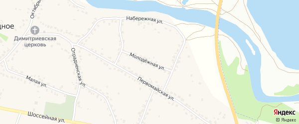 Молодежная улица на карте Отрадного села с номерами домов