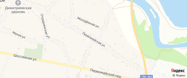Первомайская улица на карте Отрадного села с номерами домов