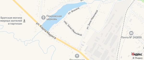 Зины Ивановой переулок на карте поселка Ивота с номерами домов