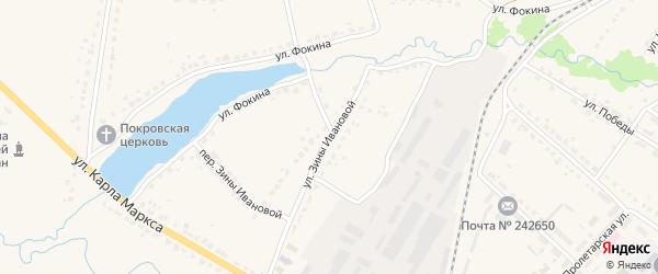 Улица Зины Ивановой на карте поселка Ивота с номерами домов