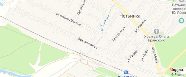 Вокзальный переулок на карте поселка Нетьинки с номерами домов