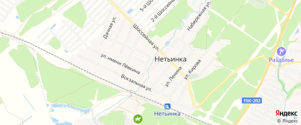 СТ Пересвет на карте поселка Нетьинки с номерами домов