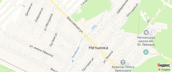 Шоссейная улица на карте поселка Нетьинки с номерами домов