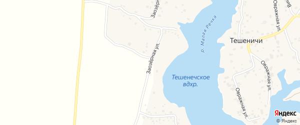 Заозерная улица на карте деревни Тешенечи с номерами домов