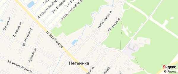Набережная улица на карте поселка Нетьинки с номерами домов