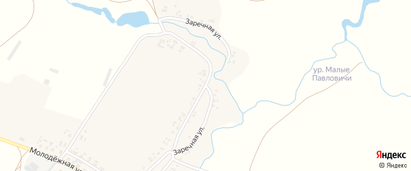 Заречная улица на карте села Полевые Новоселки с номерами домов