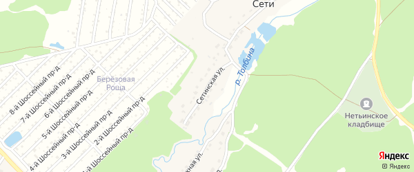 Сетинская улица на карте поселка Сети с номерами домов