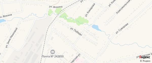 Улица Победы на карте поселка Ивота с номерами домов