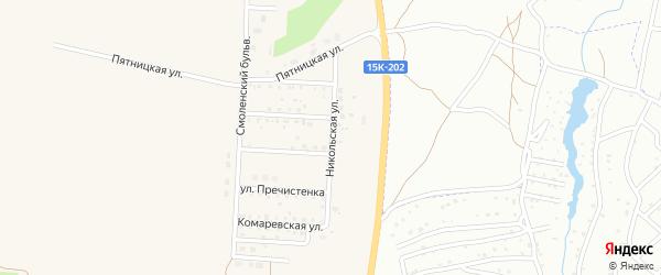 Никольская улица на карте поселка Бело-Бережский санатория турбазы с номерами домов