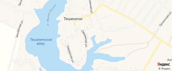 Палужская улица на карте деревни Тешенечи с номерами домов