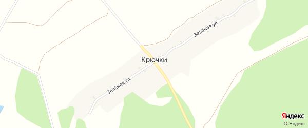 Зеленая улица на карте поселка Крючки с номерами домов