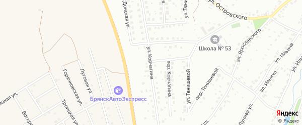 Улица Корчагина на карте Брянска с номерами домов